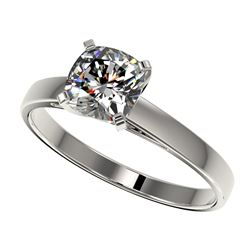 1 CTW Certified VS/SI Quality Cushion Cut Diamond Solitaire Ring 10K White Gold - REF-270M3F - 32997