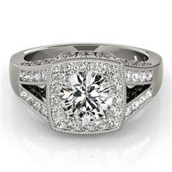 1.65 CTW Certified VS/SI Diamond Solitaire Halo Ring 18K White Gold - REF-608W9H - 27027