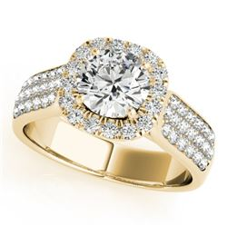 1.8 CTW Certified VS/SI Diamond Solitaire Halo Ring 18K Yellow Gold - REF-435N5Y - 26792