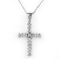 0.75 CTW Certified VS/SI Diamond Necklace 14K White Gold - REF-50M8F - 10569