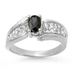 1.40 CTW Blue Sapphire & Diamond Ring 18K White Gold - REF-65K3R - 13318