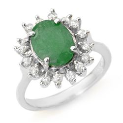 3.10 CTW Emerald & Diamond Ring 18K White Gold - REF-83T6X - 12806