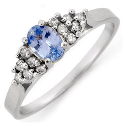 0.50 CTW Blue Sapphire & Diamond Ring 18K White Gold - REF-34F5M - 10582