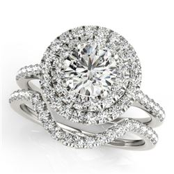 1.70 CTW Certified VS/SI Diamond 2Pc Set Solitaire Halo 14K White Gold - REF-400R2K - 30685
