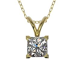 0.50 CTW Certified VS/SI Quality Princess Diamond Necklace 10K Yellow Gold - REF-74W5H - 33168