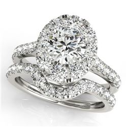 2.22 CTW Certified VS/SI Diamond 2Pc Wedding Set Solitaire Halo 14K White Gold - REF-267M8F - 31169