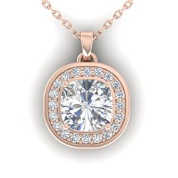 1.25 CTW Cushion Cut Certified VS/SI Diamond Art Deco Necklace 14K Rose Gold - REF-402K9R - 30340