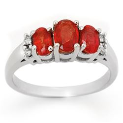 1.29 CTW Red Sapphire & Diamond Ring 10K White Gold - REF-29X3T - 10731