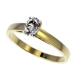0.50 CTW Certified VS/SI Quality Oval Diamond Engagement Ring 10K Yellow Gold - REF-77H6W - 32964