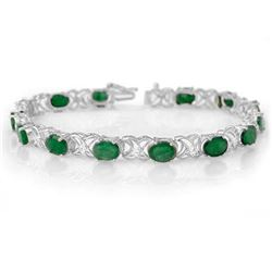 12.05 CTW Emerald & Diamond Bracelet 14K White Gold - REF-106Y2N - 11218