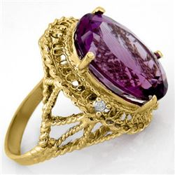 13.03 CTW Amethyst & Diamond Ring 10K Yellow Gold - REF-45R5K - 14131