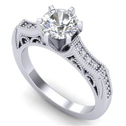 1.25 CTW VS/SI Diamond Solitaire Art Deco Ring 18K White Gold - REF-400M2F - 37073