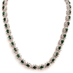 22.0 CTW Emerald & Diamond Necklace 18K White Gold - REF-902T5X - 13988
