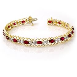 4.22 CTW Ruby & Diamond Bracelet 10K Yellow Gold - REF-69T3X - 13620