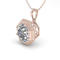 0.50 CTW Certified VS/SI Diamond Necklace 18K Rose Gold - REF-97R3K - 35990