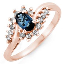 0.50 CTW Blue Sapphire & Diamond Ring 14K Rose Gold - REF-32N2Y - 10362