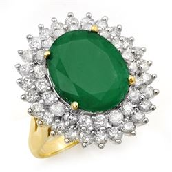 10.83 CTW Emerald & Diamond Ring 14K Yellow Gold - REF-263K6R - 12961