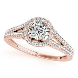 1.3 CTW Certified VS/SI Diamond Solitaire Halo Ring 18K Rose Gold - REF-378H8W - 26647