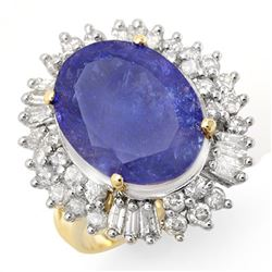 12.75 CTW Tanzanite & Diamond Ring 14K Yellow Gold - REF-455R6K - 14436