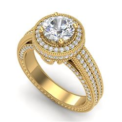 2.8 CTW VS/SI Diamond Solitaire Art Deco Ring 18K Yellow Gold - REF-527T3X - 37138