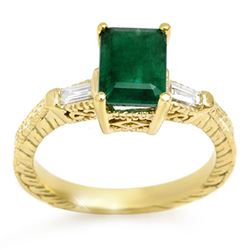 2.45 CTW Emerald & Diamond Ring 10K Yellow Gold - REF-34M2F - 11008