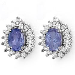 3.63 CTW Tanzanite & Diamond Earrings 14K White Gold - REF-98Y5N - 14240