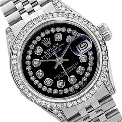 Rolex Men's Stainless Steel, QuickSet, Diamond Dial & Diamond Bezel - REF-501A8N