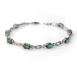 4.11 CTW Emerald & Diamond Bracelet 14K White Gold - REF-58M2F - 14181