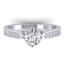 1.22 CTW Certified VS/SI Diamond Solitaire Art Deco Ring 14K White Gold - REF-355H3W - 30507