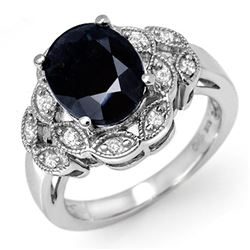5.0 CTW Blue Sapphire & Diamond Ring 18K White Gold - REF-78N5Y - 11911