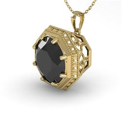1.50 CTW Black Diamond Solitaire Necklace 18K Yellow Gold - REF-61F6M - 36013