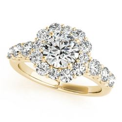 2.25 CTW Certified VS/SI Diamond Solitaire Halo Ring 18K Yellow Gold - REF-445T3X - 26268