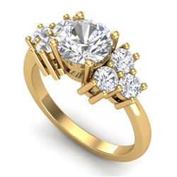 2.1 CTW VS/SI Diamond Solitaire Ring 18K Yellow Gold - REF-563M6F - 36943