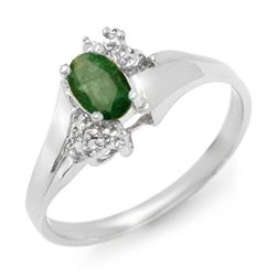0.62 CTW Emerald & Diamond Ring 18K White Gold - REF-34X5T - 13631