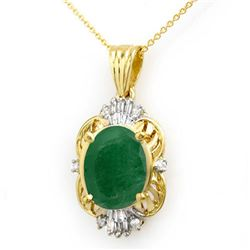 5.88 CTW Emerald & Diamond Pendant 14K Yellow Gold - REF-53Y3N - 13108