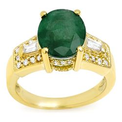 4.55 CTW Emerald & Diamond Ring 10K Yellow Gold - REF-63W6H - 10956