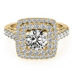 1.8 CTW Certified VS/SI Diamond Solitaire Halo Ring 18K Yellow Gold - REF-273T3X - 27101