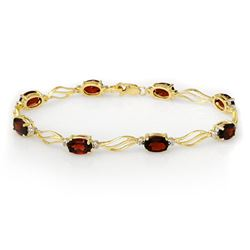 8.02 CTW Garnet & Diamond Bracelet Solid 10K Yellow Gold - REF-36M4F - 10818