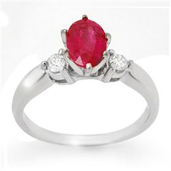 1.45 CTW Ruby & Diamond Ring 14K White Gold - REF-39K6R - 11779