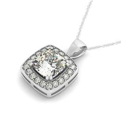 1.5 CTW Cushion Cut VS/SI Diamond Solitaire Halo Necklace 14K White Gold - REF-425N3Y - 30078