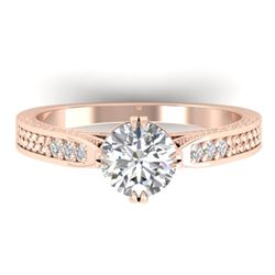 1.22 CTW Certified VS/SI Diamond Solitaire Art Deco Ring 14K Rose Gold - REF-355K3R - 30508