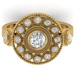 0.85 CTW Certified VS/SI Diamond Art Deco 3 Stone Ring 14K Yellow Gold - REF-102H5W - 30473