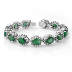 30.05 CTW Emerald & Diamond Bracelet 14K White Gold - REF-527W3H - 13346