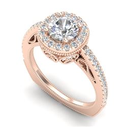 1.55 CTW VS/SI Diamond Solitaire Art Deco Ring 18K Rose Gold - REF-263W6H - 37116