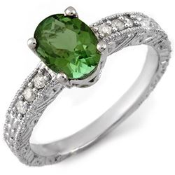 2.68 CTW Green Tourmaline & Diamond Ring 14K White Gold - REF-60W2H - 11652