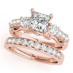 1.85 CTW Certified VS/SI Diamond 3 Stone Princess Cut 2Pc Set 14K Rose Gold - REF-305M5F - 32025