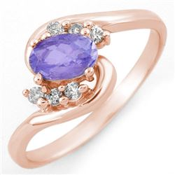 0.60 CTW Tanzanite & Diamond Ring 14K Rose Gold - REF-27F6M - 10173