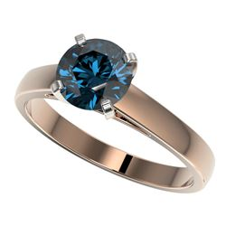 1.46 CTW Certified Intense Blue SI Diamond Solitaire Engagement Ring 10K Rose Gold - REF-254H5W - 36