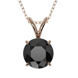 1 CTW Fancy Black VS Diamond Solitaire Necklace 10K Rose Gold - REF-31Y8N - 33186