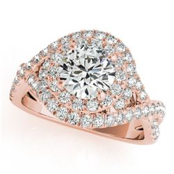 1.5 CTW Certified VS/SI Diamond Solitaire Halo Ring 18K Rose Gold - REF-247W3H - 26635